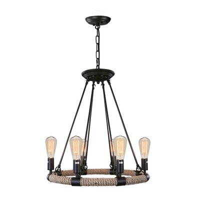 Industrial 6-Light Candle-Style Chandelier