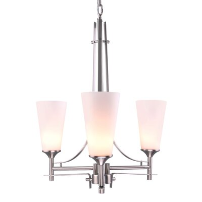 Modern 3-Light Shaded Chandelier