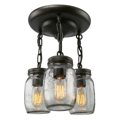 Mason Jar 3-Light Semi Flush Mount