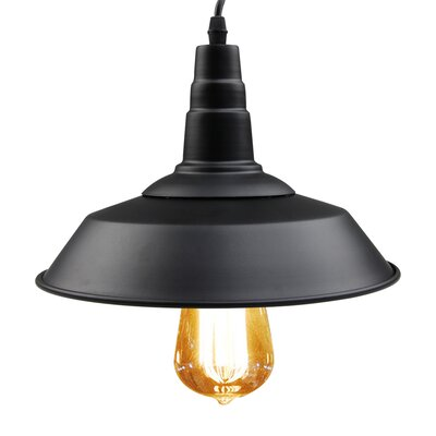 1-Light Mini Pendant Finish: Blackened Steel, Size: 6.3 H x 10.2 W x 10.2 D