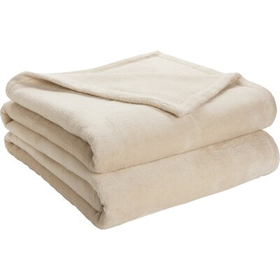 Semi Fitted Plush Bed Blanket Color: Sand Shell, Size: Twin/Twin XL