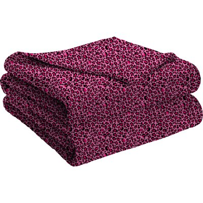 Semi Fitted Plush Bed Blanket Color: Pink Leopard, Size: Twin/Twin XL