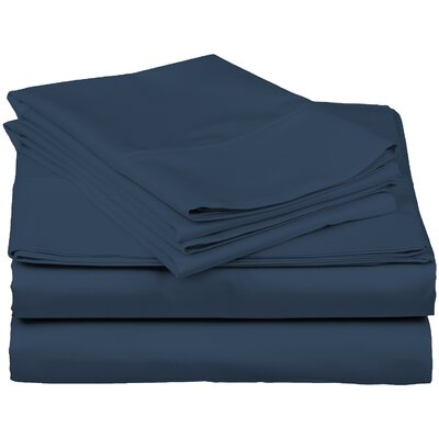 Brushed Fitted Top Sheet Set Size: King, Color: Blue