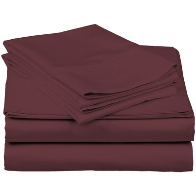 Brushed Fitted Top Sheet Set Size: Full, Color: Burgundy