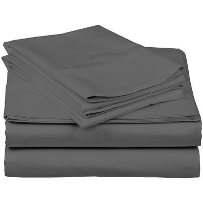 Brushed Fitted Top Sheet Set Color: Dark Gray, Size: King