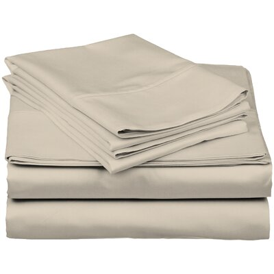 Brushed Fitted Top Sheet Set Size: California King, Color: Sand Shell