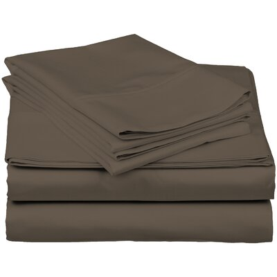 Brushed Fitted Top Sheet Set Color: Brown, Size: King