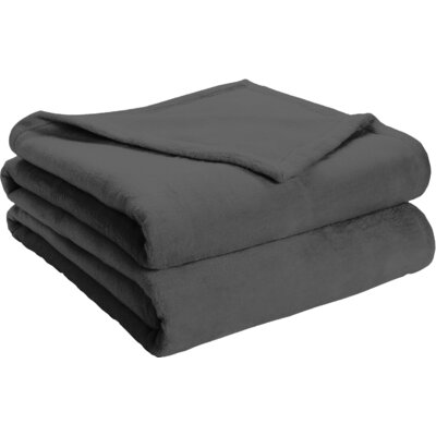 Semi Fitted Plush Bed Blanket Size: California King, Color: Dark Gray