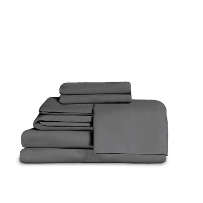 Microfiber Fitted Top Sheet Set Size: Full, Color: Dark Gray