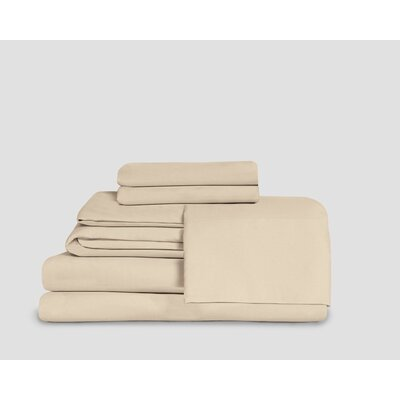Itasca Microfiber Fitted Top Sheet Set Color: Sand Shell, Size: Twin