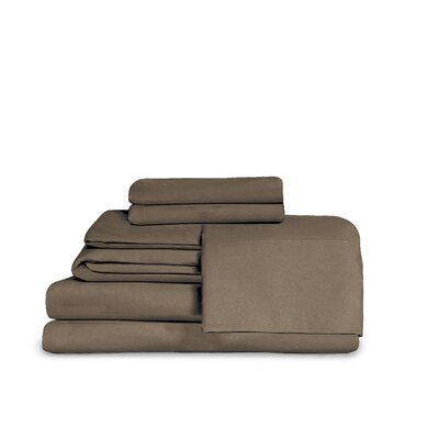 Microfiber Fitted Top Sheet Set Size: Full, Color: Brown