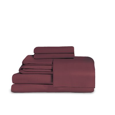 Microfiber Fitted Top Sheet Set Size: Full, Color: Burgundy