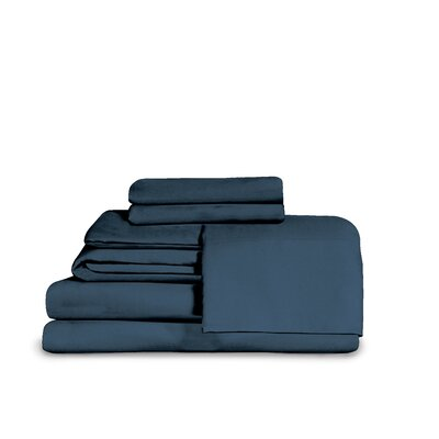 Itasca Microfiber Fitted Top Sheet Set Size: Queen, Color: Blue