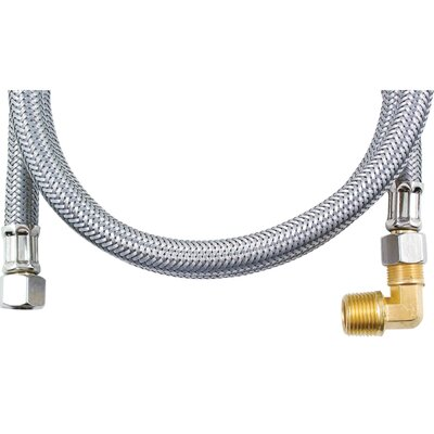 4 Braided Stainless Steel Dishwasher Hose with Elbow