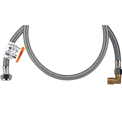Braided Stainless Steel Dishwasher Hose with Elbow Size: 3 H x 60 W x 7.5 D