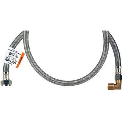 Braided Stainless Steel Dishwasher Hose with Elbow Size: 2.5 H x 72 W x 7.5 D