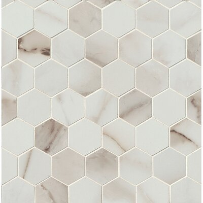 Calacatta dItalia 2 x 2 Porcelain Mosaic Tile in Polished