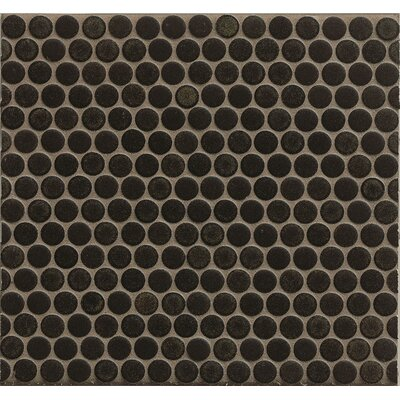 Penny Round Mosaic 12 x 12 Porcelain Tile in Black