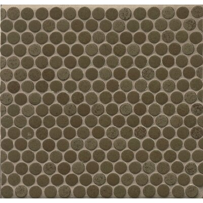 Penny Round .75 x .75 Porcelain Mosaic Tile in Olive