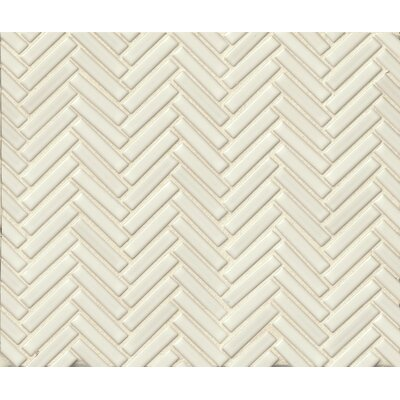 Herringbone Mosaic 11 x 12.25 Porcelain Tile in Off White