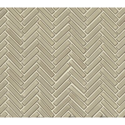 Herringbone Mosaic 11 x 12.25 Porcelain Tile in Light Gray