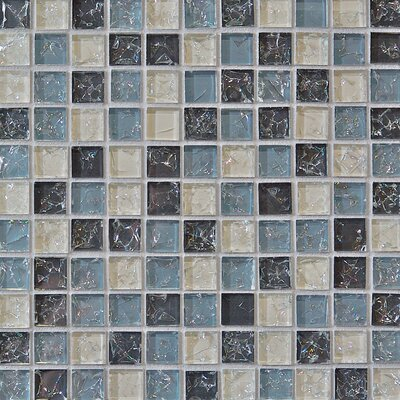 Crinkle 1 x 1 Glass Mosaic Tile in Icicle