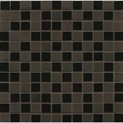 Contempo Glass 0.94 x 0.94 Glass Mosaic Tile in Black