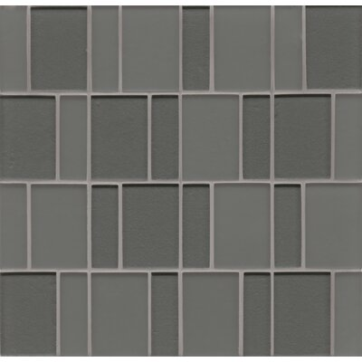 Contempo Glass Sized Glass Mosaic Tile in Concrete