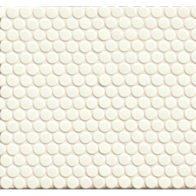 Penny Round Mosaic 12 x 12 Porcelain Tile in White Glossy