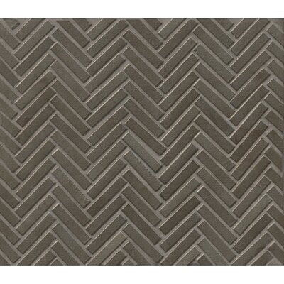 Herringbone Mosaic 11 x 12.25 Porcelain Tile in Gun Metal