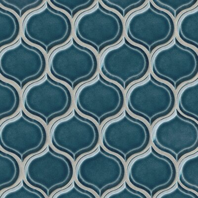 Park Place Lantern Ceramic Mosaic Tile in Dark Blue