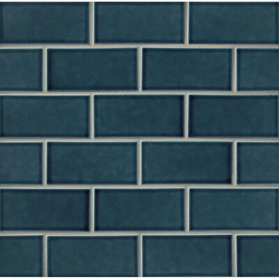 Park Place 3 x 6 Ceramic Subway Tile in Dark Blue