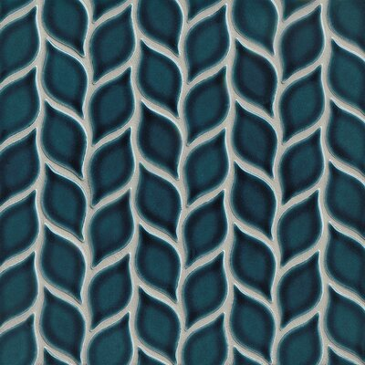 Park Place Foliole Mosaic Tile in Dark Blue