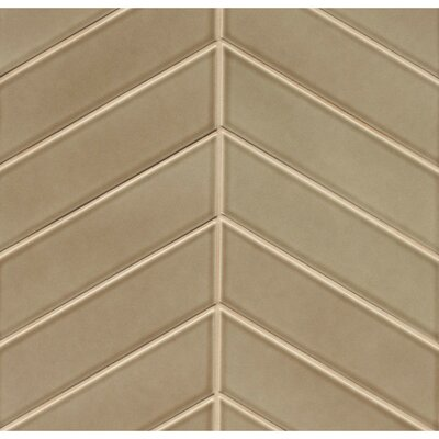 Park Place Chevron 2.57 x 9 Ceramic Field Tile in Brown