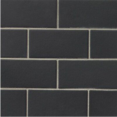 Portofino 3 x 6 Ceramic Subway Tile in Black