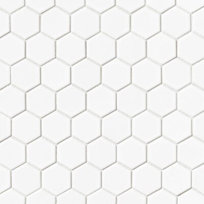 Hex 2 x 2 Porcelain Mosaic Tile in Matte White