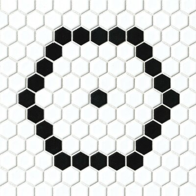 Hex 1 x 1 Porcelain Mosaic Tile in White/Black