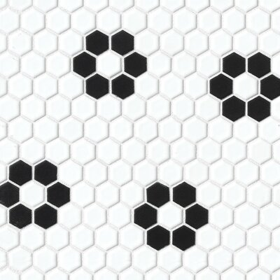 Hex 1 x 1 Porcelain Deco Mosaic Tile in Black and White