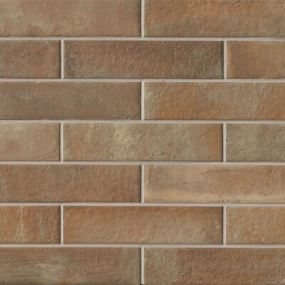 9.75 x 2.38 Porcelain Field Tile in Brown
