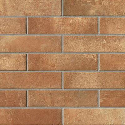 9.75 x 2.38 Porcelain Field Tile in Red