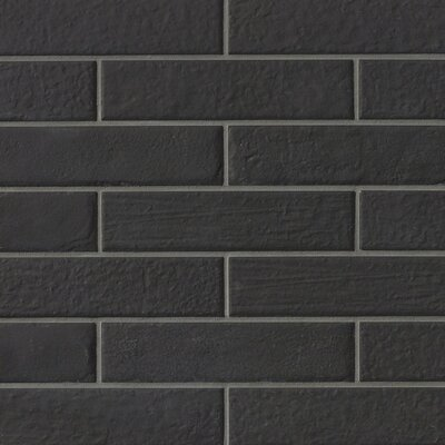 9.75 x 2.38 Porcelain Field Tile in Black