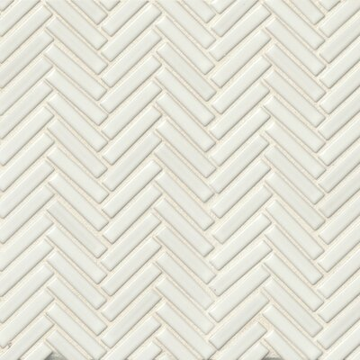 Herringbone Mosaic 11 x 12.25 Porcelain Tile in White