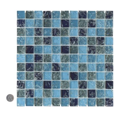 Staccato Mosaic Ice Crackle Gloss Tile in Blue