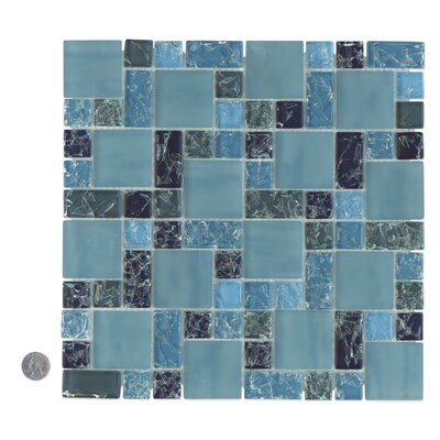 Staccato Mosaic Gloss Matte Tile in Blue