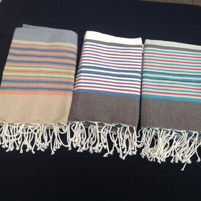 Striped Tunisian Fouta Beach Towel