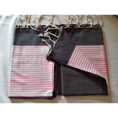 Hand Woven Cotton Bath Sheet Color: Black