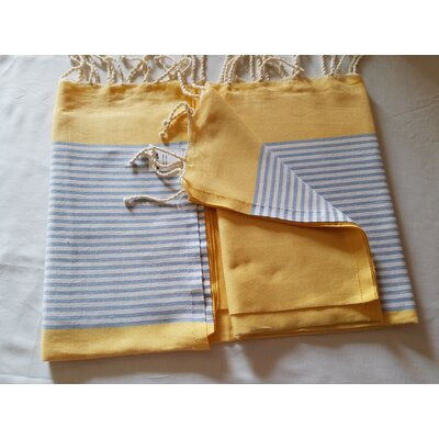 Hand Woven Cotton Bath Sheet Color: Yellow