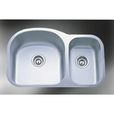 Wave Stainless Steel 31.5 x 20.5 Double Bowl Undermount Kitchen Sink