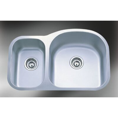 Wave Deluxe Stainless Steel 31.5 x 20.5 Double Bowl Undermount Sink Kitchen Sink