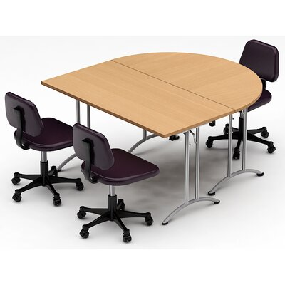 Meeting Seminar 2 Piece Combo 5 Half-Round Conference Table Top Finish: Natural Beech